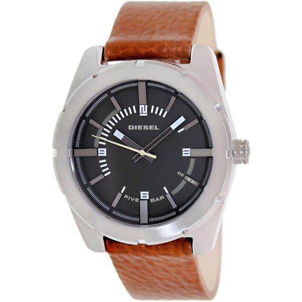 Diesel Men's Good Company DZ1631 Brown Leather Quartz Watch with Black Dial