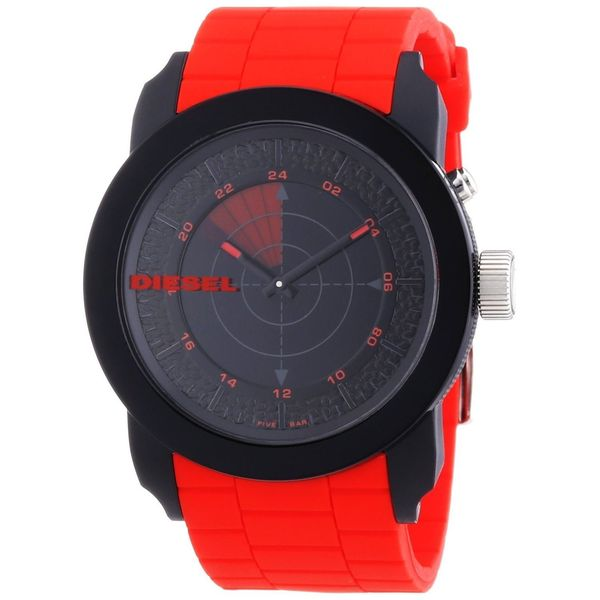 Diesel Men's Franchise DZ1607 Red Silicone Quartz Watch with Black Dial