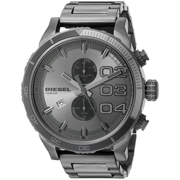 Diesel Men's Double Down DZ4314 Grey Stainless Steel Quartz Watch with Grey Dial