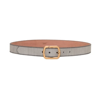 Fendi Black and White Calfskin Micro-logo Belt