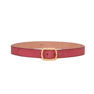 Fendi Red Calfskin Micro-logo Belt