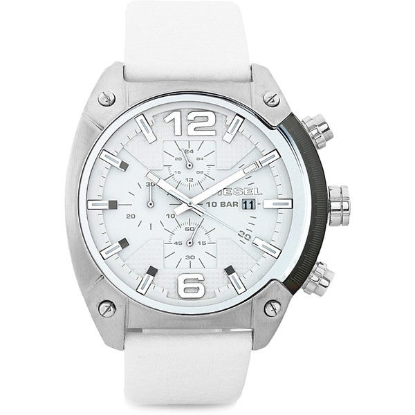 Diesel Men's Overflow DZ4315 White Leather Quartz Watch with White Dial