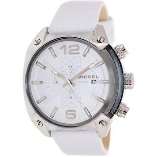 Diesel Men's Overflow DZ4315 White Leather Quartz Watch with White Dial