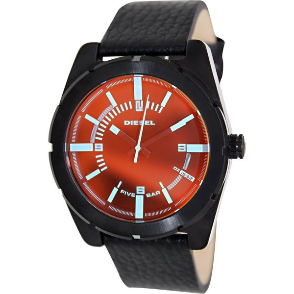 Diesel Men's Good Company DZ1632 Black Leather Quartz Watch with Black Dial