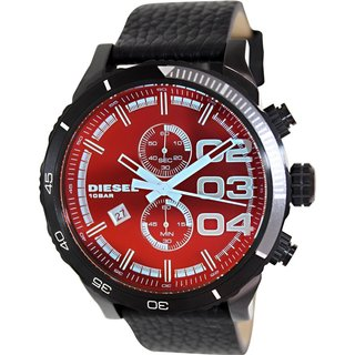 Diesel Men's Double Down DZ4311 Black Leather Quartz Watch with Black Dial