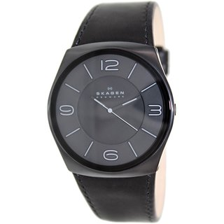 Skagen Men's Havene SKW6043 Black Leather Quartz Watch with Grey Dial