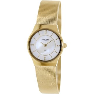 Skagen Women's Goldtone Tone Mesh 233XSGG Goldtone Stainless Steel Quartz Watch with Mother-Of-Pearl Dial