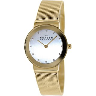 Skagen Women's 358SGGD Goldtone Stainless Steel Quartz Watch with Silvertone Dial