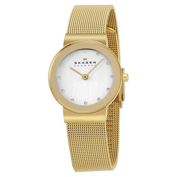 Skagen Women's 358SGGD Goldtone Stainless Steel Quartz Watch with Silvertone Dial