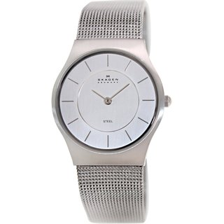 Skagen Women's 233SSS Silvertone Stainless Steel Analog Quartz Watch with Silvertone Dial