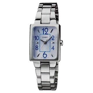 Casio Women's Core LTP1294D-2A Silvertone Stainless Steel Quartz Watch with Blue Dial