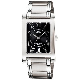 Casio Women's Core BEM100D-1A2V Silvertone Stainless Steel Quartz Watch with Black Dial