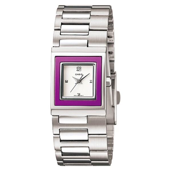 Casio Women's Core LTP1317D-6C Silvertone Stainless Steel Quartz Watch with White Dial