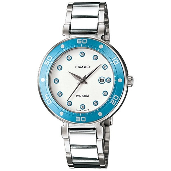 Casio Women's Core LTP1329D-2EV White Stainless Steel Quartz Watch with White Dial