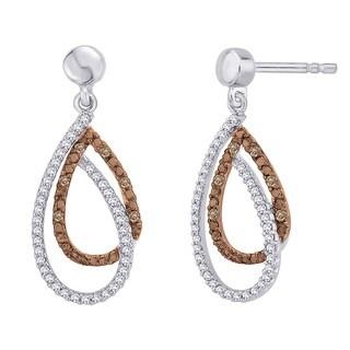 10k White Gold 1/5ct Brown and White Diamond Fashion Earrings (G-H, I2-I3)