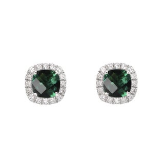 Sterling Silver Round-cut Created Emerald Stud Earrings