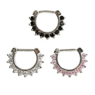 Supreme Jewelry Septum Clicker with Stones Value Pack (Pack of 3)