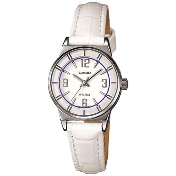 Casio Women's Core LTP1361L-7AV White Leather Analog Quartz Watch with White Dial