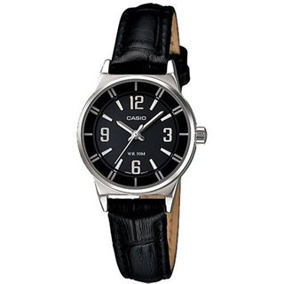 Casio Women's Core LTP1361L-1AV Black Leather Analog Quartz Watch with Black Dial