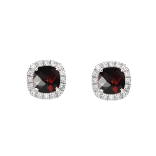 Sterling Silver Garnet and Created White Sapphire Stud Earrings