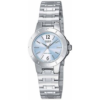 Casio Women's Core LTP1177A-2A Silvertone Stainless Steel Quartz Watch with Blue Dial