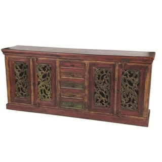 Historic 4 Carved Doors 5 Drawers Buffet