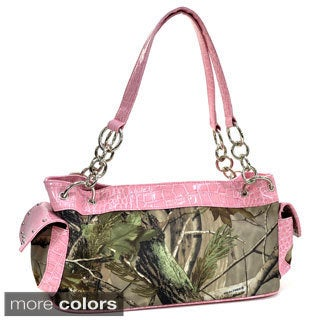 Realtree Camouflage Studded Shoulder Bag with Chain Handles