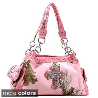 Dasein Shoulder Bag in Realtree Camouflage with Rhinestone Cross