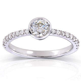 Annello 14k White Gold 3/5ct TDW Contemporary Round Bezel Diamond Engagement Ring (H-I, I1-I2)