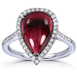 Annello 14k White Gold Pear-shape Capricorn Garnet and 1/3ct TDW Diamond Halo Ring (G-H, I1-I2)