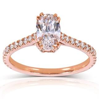 Annello 14k Rose Gold 1 1/3ct TDW Certified Oval Diamond Ring (D, VS2) with Bonus Item