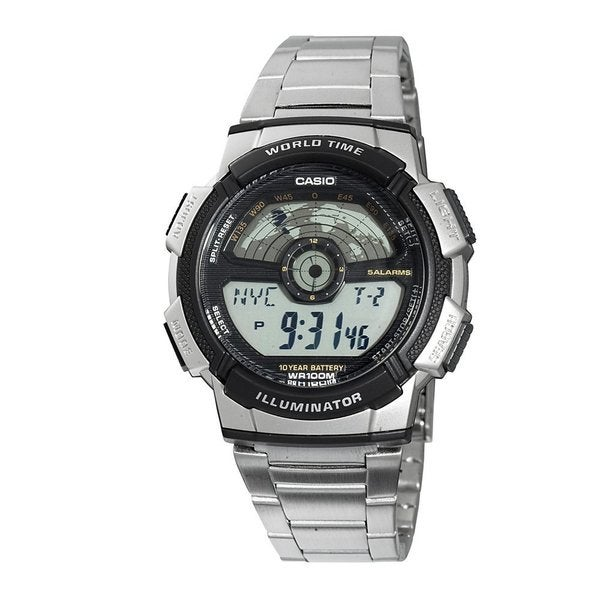 Casio Men's Core AE1100WD-1AV Silvertone Stainless Steel Quartz Watch with Digital Dial