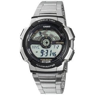 Casio Men's Core AE1100WD-1AV Silvertone Stainless Steel Quartz Watch with Digital Dial