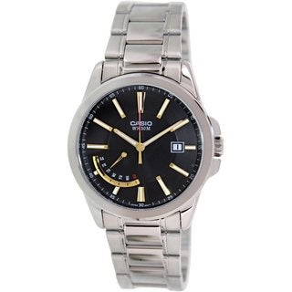 Casio Men's MTPE102D-1AV Silvertone Stainless Steel Quartz Watch with Black Dial