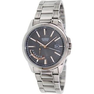 Casio Men's MTPE102D-8AV Silvertone Stainless Steel Quartz Watch with Grey Dial