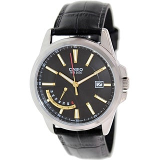 Casio Men's MTPE102L-1AV Black Leather Quartz Watch with Black Dial