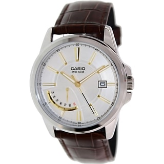 Casio Men's MTPE102L-7AV Brown Leather Quartz Watch with Silvertone Dial