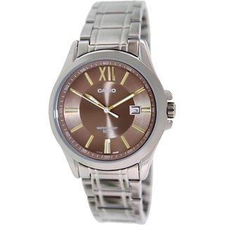 Casio Men's MTPE103D-5AV Silvertone Stainless Steel Quartz Watch with Green Dial