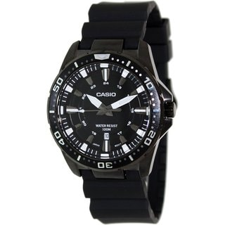 Casio Men's Core MTD1072-1AV Black Rubber Quartz Watch with Black Dial