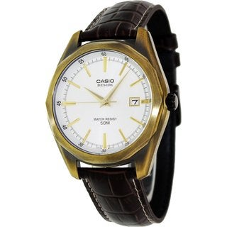 Casio Men's Core BEM121AL-7A Brown Leather Quartz Watch with Silvertone Dial