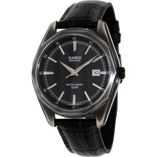 Casio Men's Core BEM121BL-1A Black Leather Quartz Watch with Black Dial