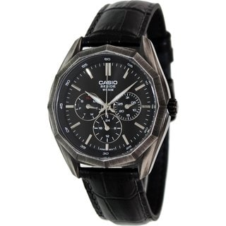 Casio Men's Core BEM310BL-1A Black Leather Quartz Watch with Black Dial