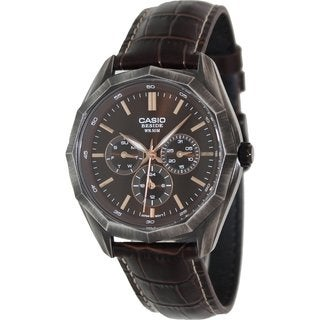Casio Men's Core BEM310BL-5A Brown Leather Quartz Watch with Brown Dial