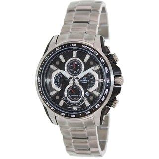 Casio Men's Edifice EF560D-1AV Silvertone Stainless Steel Quartz Watch with Black Dial
