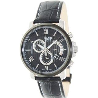 Casio Men's Beside BEM507BL-1AV Black Leather Quartz Watch with Black Dial
