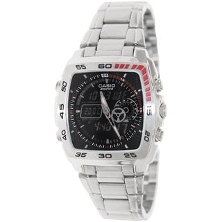 Casio Men's Edifice EFA122D-1AV Silvertone Stainless Steel Quartz Watch with Black Dial