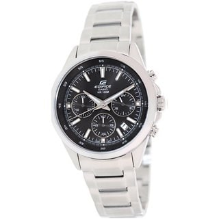 Casio Men's Edifice EFR527D-1AV Silvertone Stainless Steel Quartz Watch with Black Dial