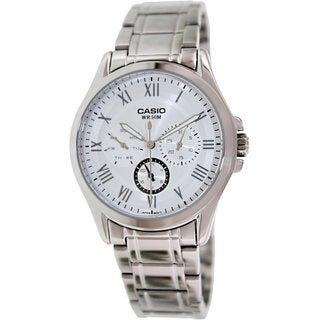 Casio Men's MTPE301D-7B1V Silvertone Stainless Steel Quartz Watch with White Dial