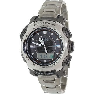 Casio Men's Protrek PRG510T-7 Silvertone Titanium Quartz Watch with Digital Dial
