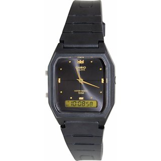 Casio Men's Core AW48HE-1AV Black Rubber Quartz Watch with Black Dial